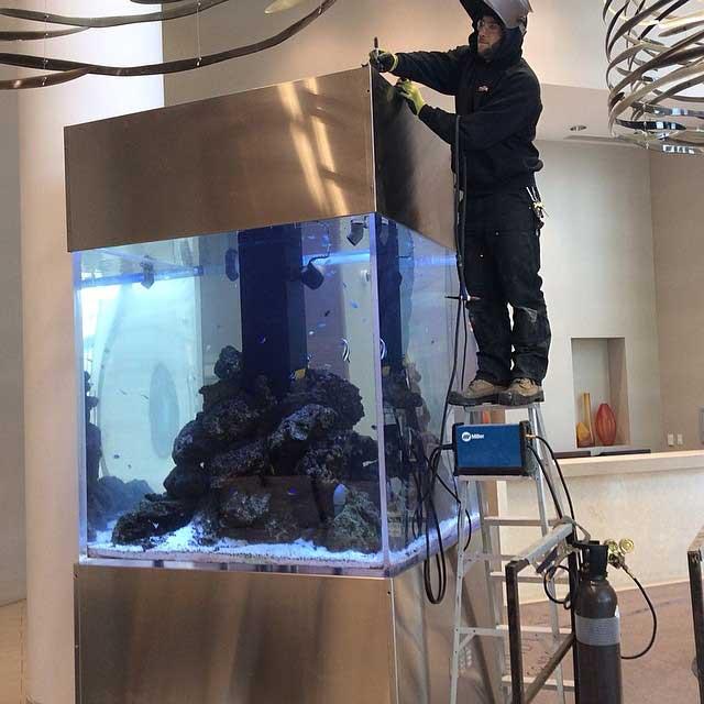 toronto aquarium installation tank weld